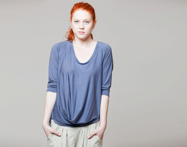 Scoop neck draped top