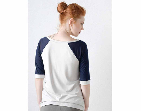 Raglan top with sheer sleeves