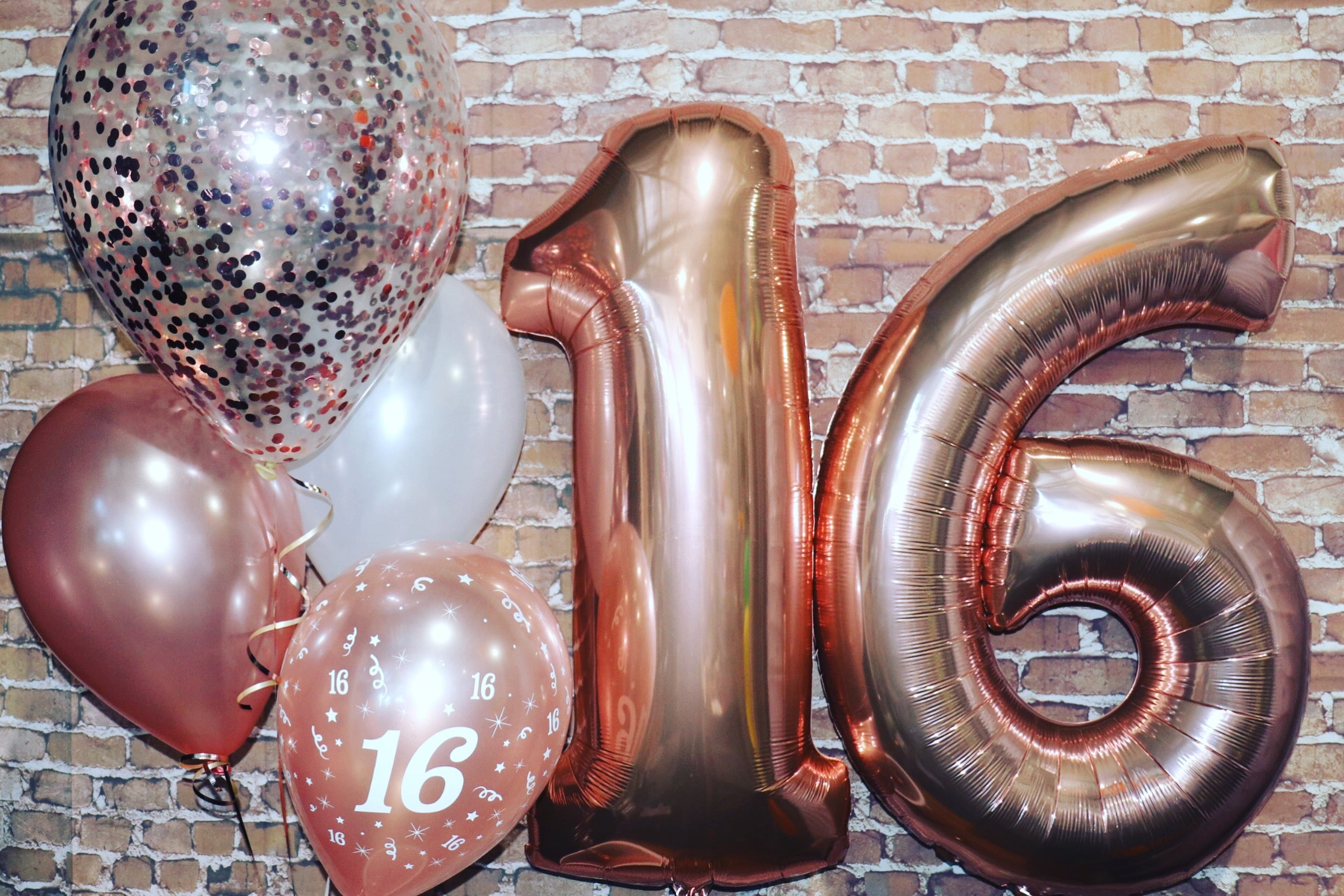 Rose Gold Helium Number Balloons