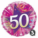 50th Birthday Foil Pink 45cm Balloon #25259