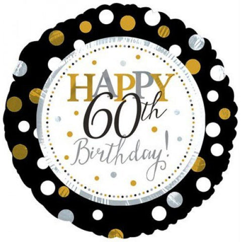60th Birthday Foil Dots Gold, Silv, Blk Balloon #117805