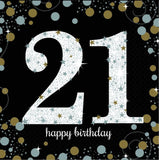 21st Birthday Napkin Black Gold & Silver 16pk