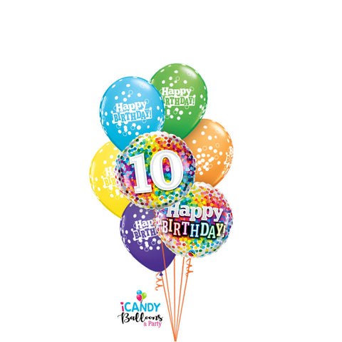 Happy 10th Birthday Confetti Rainbow Dazzler Balloon Bouquet