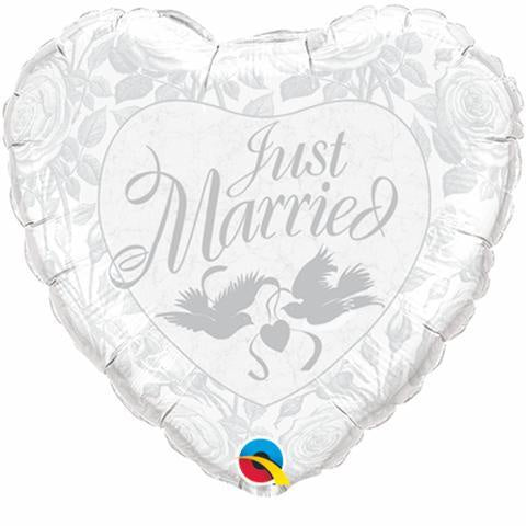 Just Married Dove Heart Foil 45cm Balloon #14253