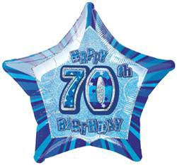 70th Birthday Foil Blue Star 45cm Balloon #55139