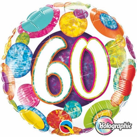 60th Birthday Foil 45cm Multi Coloured #37909