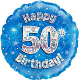 50th Birthday Foil Blue Balloon Oaktree #228021