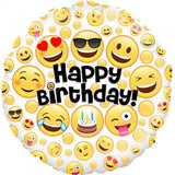 Emoji Faces Happy Birthday Foil 45cm Balloon #229417