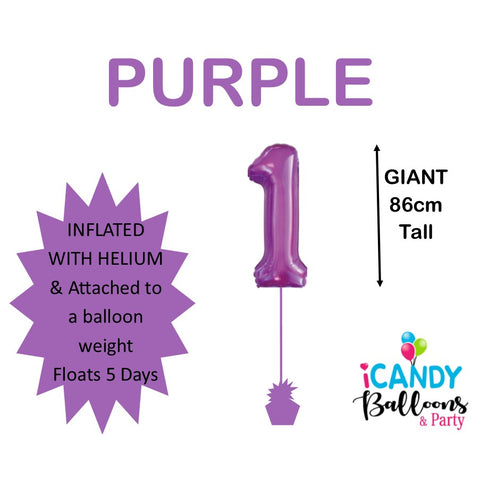 Purple Number 1 Foil 86cm Balloon #50621