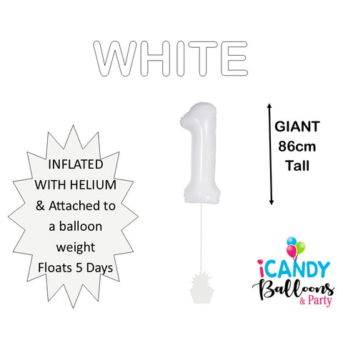White Number 1 Foil Balloon #50671