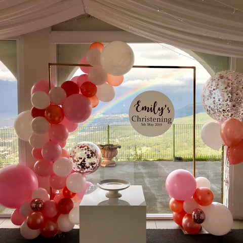 Organic Balloons with Gold Frame Hire