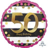 50th Birthday Foil Black, Gold, Magenta Balloon #37164