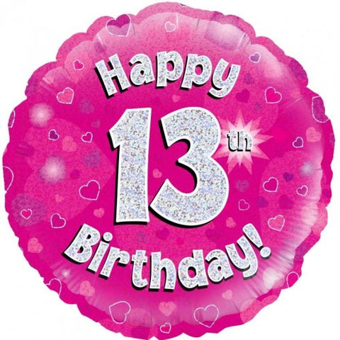 13th Birthday Foil Pink 45cm Balloon #55932