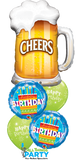 Cheers Happy Birthday Blue Cake Balloon Bouquet