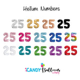 25th Birthday Helium Numbers -Choose your colour
