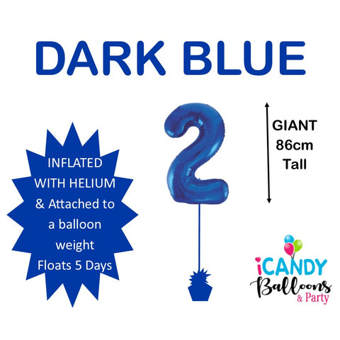 Dark Blue Number 2 Foil 86cm Balloon #48332