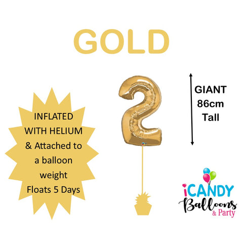 Gold Number 2 Foil 86cm Balloon #30477