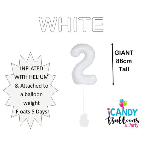 White Number 2 Foil Balloon #50672