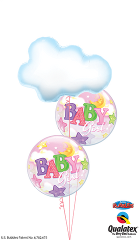Baby Girl Cloud, Stars & Moon Bubble Balloon Bouquet #cloudBG1