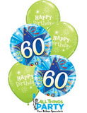 60th Birthday Lime Green Star Balloon Bouquet