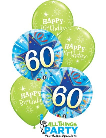 60th Birthday Lime Green Star Balloon Dazzler Bouquet #60BD05
