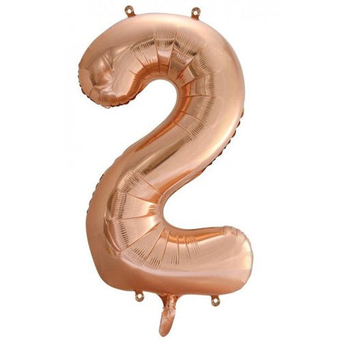 Rose Gold Number 2 Foil 86cm Balloon #213742
