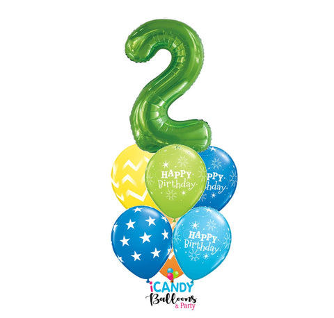 2nd Birthday Big Number Green Bouquet