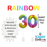30th Giant Helium Number Balloons 14 Colours to choose from