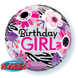 Birthday Girl Floral Zebra Bubble Balloon #13738