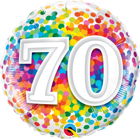 70th Birthday Foil Rainbow Confetti Balloon #49556