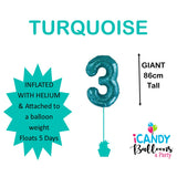 Teal Number 3 Foil 86cm Balloon #50633