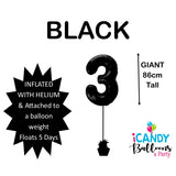 Black Number 3 Foil 86cm Balloon #48303