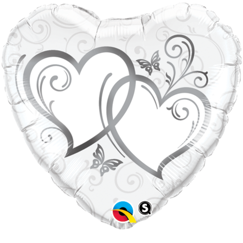 Entwined Hearts Silver Heart Foil 45cm Balloon #15746