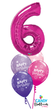 6th Birthday Magenta Number Balloon Bouquet