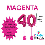 40th Giant Helium Number Balloons 14 Colours to choose from
