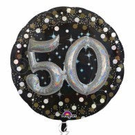 50th Birthday Foil Sparkling Holographic 81cm Balloon #32153