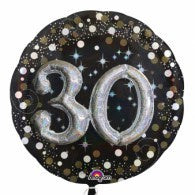 30th Birthday Foil Sparkling Holographic 81cm Balloon #32151