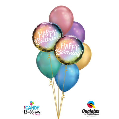 Happy Birthday Shining Chrome Balloon Bouquet