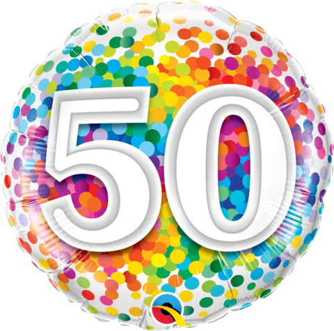 50th Birthday Foil 45cm Confetti Balloon #49543