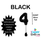 Black Number 4 Foil 86cm Balloon #48304