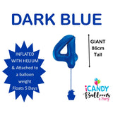 Dark Blue Number 4 Foil 86cm Balloon #48334