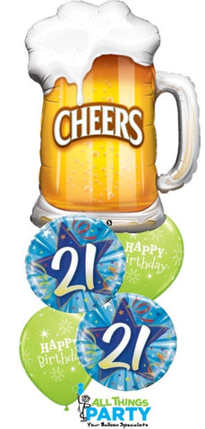 21st Birthday Cheers Balloon Bouquet #21BD04