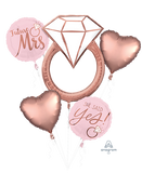 She Said Yes, Future Mrs Foil Balloon Rose Gold Blush Bouquet Kit #39716