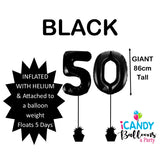 50th Giant Helium Number Balloons 14 Colours to choose from