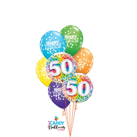 50th Birthday Confetti Dazzler Balloon Bouquet #50BD07