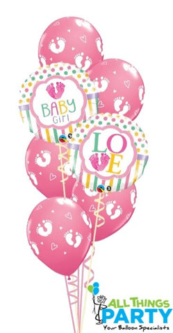 Baby Girl Footprint Balloon Bouquet #52979
