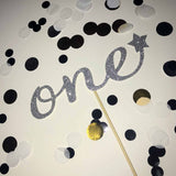 "1st Birthday 'One"" Glittered Cake Topper in Silver with Star"