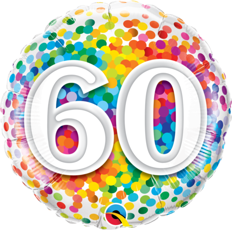 60th Birthday Foil 45cm Confetti Balloon #49548