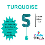 Teal Number 5 Foil 86cm Balloon #50635