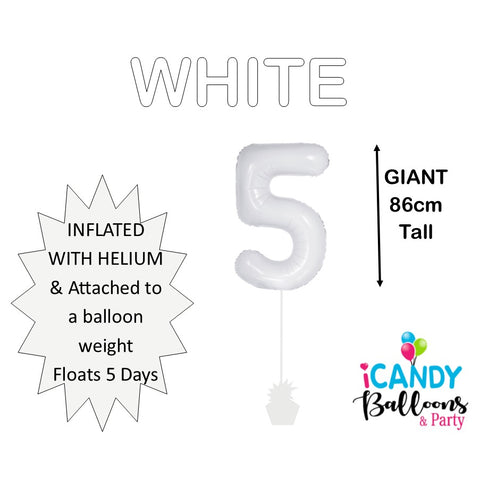 White Number 5 Foil Balloon #50675